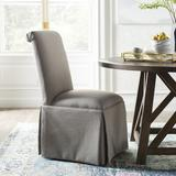 Kelly Clarkson Home Lillian Upholstered Solid Back Skirted Side ChairUpholstered/Fabric in Gray, Size 40.0 H x 20.0 W x 26.0 D in | Wayfair