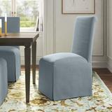 Kelly Clarkson Home Lillian Upholstered Solid Back Skirted Side ChairUpholstered/Fabric in Blue, Size 40.0 H x 20.0 W x 26.0 D in | Wayfair