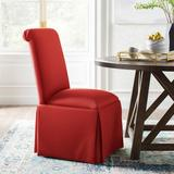 Kelly Clarkson Home Lillian Upholste Solid Back Skirted Side ChairUpholste/Fabric in Red, Size 40.0 H x 20.0 W x 26.0 D in | Wayfair