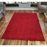 Ebern Designs Ludington Tufted Red Area Rug Polypropylene in White, Size 36.0 W x 0.02 D in | Wayfair 9AA833804BBA4A77A9C1EF3CB7EB2A4E