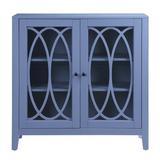 Winston Porter Bammer 2 Door Accent Cabinet Wood in White/Blue, Size 36.0 H x 12.0 D in | Wayfair 99370B90F8594662A5E58FA5D41A8EA4