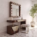 Everly Quinn Lovins Vanity Set w/ Stool & Mirror Wood in Brown, Size 55.12 H x 31.5 W x 19.69 D in | Wayfair B16E8BCA8628410599D17B04E701E0FB