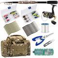 Dr.Fish Angelrute und Angelrolle, 125 Teile, komplettes Set, Angelzubehör, Angeltasche, Organizer, Salzwasser, Süßwasser