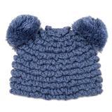 Hand-crocheted alpaca blend hat, 'Fun Pompoms in Steel Blue'