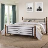 Metal King Bed with Horizontal and Vertical Design with Wood Posts, Textured Black and Weathered Dark Brown Wood - Hillsdale 2591-660