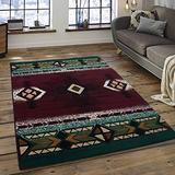 Champion Rugs Southwest Navajo Aztec Native American Burgundy Area Rug Carpet (2 Feet X 3 Feet)
