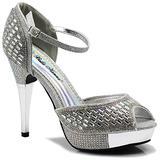 Enzo Romeo Angie15 Womens Open Toe High Heel Wedding Rhinestone Mesh Sling Back Sandal Wedge Shoes (7.5, Silver(16))