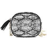 ATTX Snake Skin Pattern Texture Black And White Shoulder Bag Chain Strap Crossbody Purse