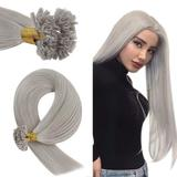 YoungSee Fusion U Tip Hair Extensions Human Hair Grey 20inch Pre Bonded Keratin Hair Extensions U Tip Human Hair Extensions Grey Hot Fusion Hair Extensions Human Hair 50strands 50gram