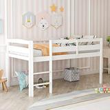 Twin Wood Loft Bed, Low Loft Bed for Kids with Ladder and Guard Rail. (White)