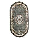 Traditional Oval Oriental Aubusson Floral Area Rug Persian Green Burgundy & Beige Design 602 (31 Inch X 4 Feet 11 Inch)