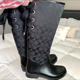 Coach Shoes   Black Coach Womens Lace Up Rain Boots   Color: Black   Size: 6