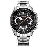 TEMEITE Men's Large Dial Watch, Gold Silver Black, Steel Band Sports Watch Waterproof Watch with Calendar Brand Men's Watch Large Dial Steel Belt Sports Watch