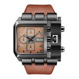 Mens Watch Fashion Rectangle Quartz Wrist Watch with Leather Strap - Big Coffee Dial