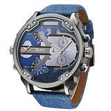 Men Business Two Time Zone Quartz Watch Stylish Luxury Leather Watchband Wristwatch Denim Blue