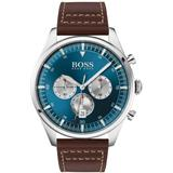 Stainless-steel Chronograph Watch With Brown Leather Strap - Brown - BOSS by Hugo Boss Watches