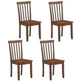 COSTWAY Set of 4 Slat Back Dining Chairs, Transitional Dining Side Chairs, Thickened Rubber Wood Legs, Sturdy Construction Side Chairs with Smooth Surface, Comfort for Living Room, Bedroom, Kitchen