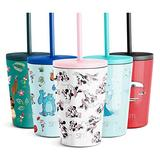 Simple Modern Disney Water Bottle for Kids Reusable Cup with Straw Sippy Lid Insulated Stainless Steel Thermos Tumbler for Toddlers Girls Boys, 12oz, Minnie Mouse Retro