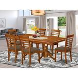 Dining Table & 6 Chairs - August Grove® Pillsbury Modern Dining Set, 7 Pieces: 1 Table, 6 Chairs, Wood/Upholstered Chairs/Solid Wood, Brown