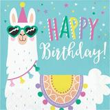 Creative Converting Llama Party Happy Birthday Basic Paper Disposable Napkin Paper in Blue   Wayfair 339580