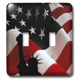 3dRose Liberty Flag Patriotic Statue of Liberty w/ American Flag & Liberty Text 2-Gang Toggle Light Switch Wall Plate in Red/White | Wayfair