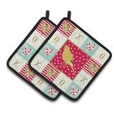 Caroline's Treasures French Curly Canary Love 2-Piece Potholder Set Polyester in Green/Red, Size 7.5 W in   Wayfair CK5501PTHD