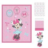 Disney Minnie Mouse All About the Bows Nursery 4 Piece Crib Bedding Set Polyester in Pink/White, Size 33.0 W in | Wayfair 7991494A