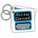3dRose Fun Laptop Computer Technician Nerd Geek Humor - Access Denied Key Chain in Blue, Size 2.25 H x 2.25 W x 0.75 D in | Wayfair kc_216220_1