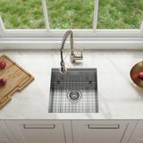 """Kraus Kore 17"""" L x 19"""" W Undermount Kitchen Sink w/ Basket Strainer Stainless Steel in Gray, Size 10.0 H x 19.0 W x 17.0 D in   Wayfair KWU111-17"""