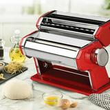 """Maison Condelle Maison Condelle Manual Pasta Maker w/ 3 Attachments, Stainless Steel in Red, Size 7""""H X 5""""W X 5""""D 