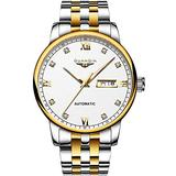 GUANQIN Men Analog Rhinestone Dial Automatic Self-Winding Mechanical Stainless Steel/Leather Band Wrist Watch Luminous Date (Silver Gold White)