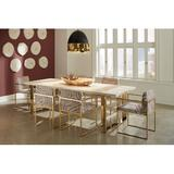 7-Piece Dining Set - Phillips Collection 7 Piece Dining Set, Upholstered Chairs/Metal in Gold/Beige, Size Medium (Seats 5 to 7)