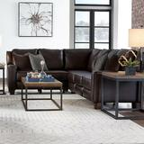 """Southern Motion West End 91"""" Wide Leather Match Reversible Reclining Large Sectional Leather Match/Leather in Brown 