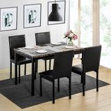 Red Barrel Studio® Skadi 5 Piece Breakfast Nook Dining Set Plastic/Acrylic/Metal/Upholstered Chairs in Black, Size 37.0 H x 18.0 W x 16.0 D in