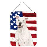 The Holiday Aisle® Shar Pei Patriotic Hanging Prints Wall Decor Metal in Blue/Red, Size 12.0 H x 16.0 W x 0.03 D in | Wayfair