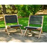 Laurel Foundry Modern Farmhouse® Eccles Patio Chairs - 2 Pack Wood in Brown/White, Size 30.7 H x 25.0 W x 30.3 D in | Wayfair