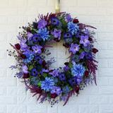 One Allium Way® Indigo Dreamer Petunia Larkspur Front Door Summer Wreath Silk in Green/Indigo, Size 30.0 H x 30.0 W x 6.0 D in | Wayfair