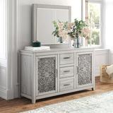 Kelly Clarkson Home Orellana 3 Drawer Combo Dresser w/ Mirror Wood in Brown/Gray, Size 36.0 H x 63.0 W x 20.0 D in | Wayfair