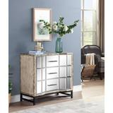 Gracie Oaks Khadeejah 3 Drawer Mirrored Accent Chest Wood/Metal in Black/Brown/Gray, Size 34.0 H x 36.0 W x 17.0 D in   Wayfair