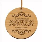 LIfesong Milestones Ornaments 50th Wedding Personalized Engraved Anniversary Ornament Wood in Brown, Size 3.75 H x 3.75 W x 0.13 D in | Wayfair