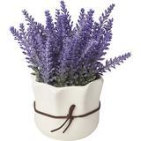 One Allium Way® Artificial Lavender Floral Arrangements in Pot Silk in Indigo/White, Size 7.0 H x 4.0 W x 1.5 D in | Wayfair