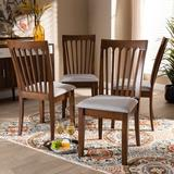 Winston Porter Klag Solid Wood Slat Back Side Chair in Wood/Upholstered/Fabric in Brown, Size 38.19 H x 17.32 W x 21.65 D in | Wayfair