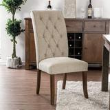 Alcott Hill® Gregson Tufted Upholstered Side Chair in Beige Faux Leather/Upholstered/Fabric in Brown, Size 42.0 H x 20.0 W x 28.0 D in | Wayfair