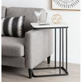 Willa Arlo™ Interiors Isabel Marble Top C-Table End Table Metal in Black/White/Yellow, Size 25.5 H x 12.0 W x 18.5 D in | Wayfair