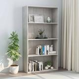 "vidaXL 4-Tier Book Cabinet Concrete Gray 31.5""x11.8""x59.6"" Chipboard"