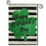 DOLOPL St Patricks Day House Flag 28x40 Inch Double Sided Decorative Happy St.Patrick's Day Green Shamrock Yard House Flag for St. Patricks Day Outdoor Indoor Decoration Black and Off White