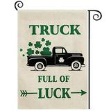 DOLOPL St Patricks Day House Flag 28x40 Inch Double Sided Decorative St.Patrick's Day Green Shamrocks Black Truck Full of Luck Arrow Yard House Flag for St. Patrick's Day Outdoor Indoor Decoration