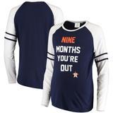 Women's Soft as a Grape Navy Houston Astros Maternity Baseball Long Sleeve T-Shirt