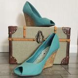 American Eagle Outfitters Shoes | American Eagle Teal Open Toe Wedge Heels | Color: Blue/Green | Size: 9
