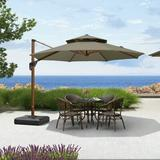 "Canora Grey Voss 10' 10"" Cantilever Sunbrella Umbrella Metal in Brown, Size 74.0 H x 130.0 W x 130.0 D in   Wayfair"